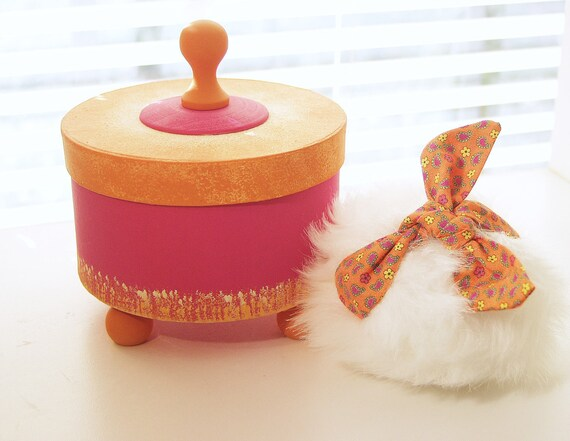 Bath Powder Container, Bath Powder Puff, Scented Dusting Powder WHIMSY (SET)  Hot Pink and Orange