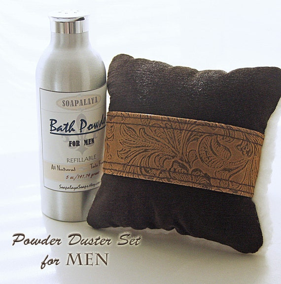 Masculine Powder Applicator SET (AKA a manly powder puff) Chocolate Brown and Faux Leather