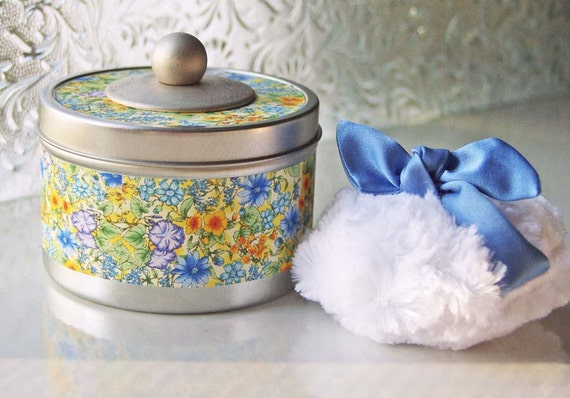 NEW - Fanciful Powder Tin  (SET)  Yellow and Blue Floral (container, puff, dusting powder)