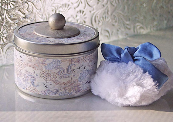NEW - Fanciful Powder Tin  (SET)   Blue Paisley (container, puff, dusting powder)