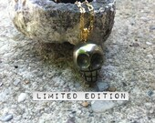 Pyrite Skull Gold Necklace ( also known as Fools Gold)