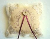 Rustic Ring Bearer Pillow,Vintage Shabby Chic Ring  Pillow,Wedding Pillow,Linen Ring Bearer