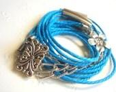 Blue Wrap Bracelet or Necklace,Wrap Cotton Bracelet,