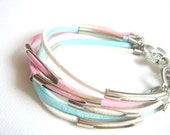 Pastel Leather Bracelet,Summer Leather Bracelet