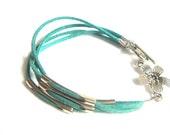 Green Leather Bracelet, Pastel Summer Leather Bracelet