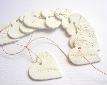10 Ceramic Gift Tag Thank you Tags, Wedding  Favor Tags, Decoration Love tags, Wedding Ceramic Tag