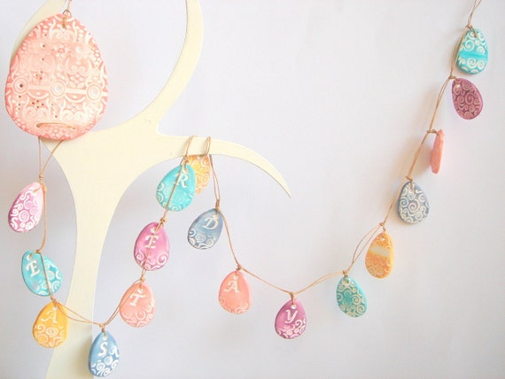 Easter Day Eggs Garland Pastel Banner  -Ornament