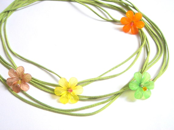 Spring Leather wrap Necklace Flowers