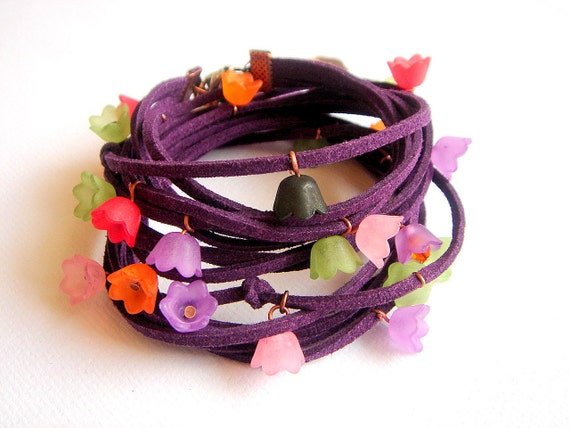 Leather Wrap Purple Bracelet