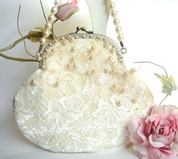 Bridal Clutch,Vintage Wedding Bag,Bridesmaids Clutch,Bridal  Pearls Bag,Lace Bag,Vintage Wedding lace Bag