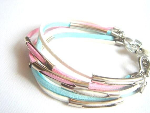 Pastel Leather Bracelet,Summer Leather Bracelet