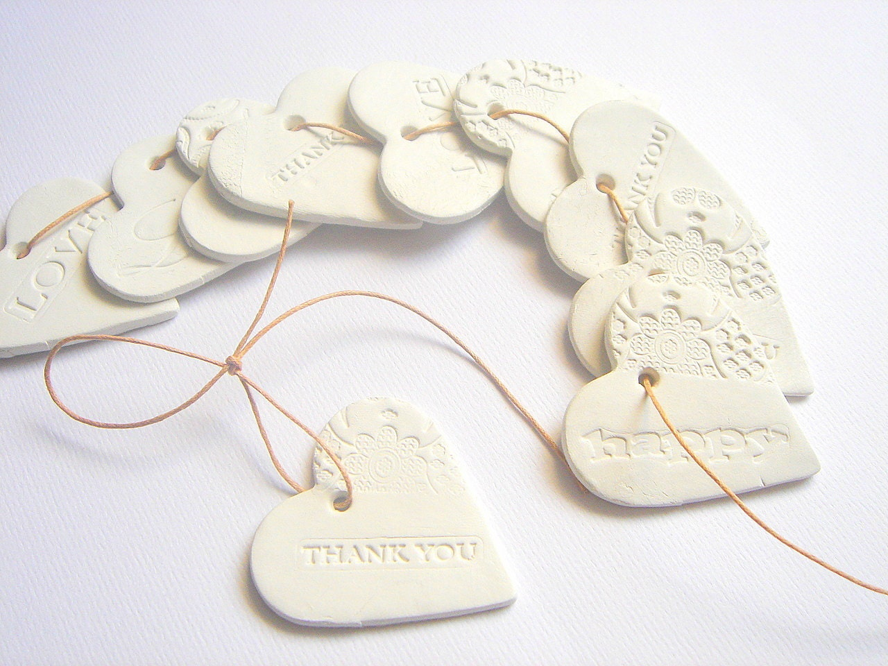 10 Ceramic Gift Tag Thank you Tags Wedding Favor Tags
