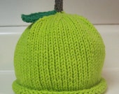 Hand Knitted Green Apple Hat