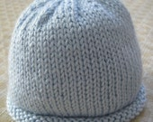 Pale Blue Knitted Beanie Hat