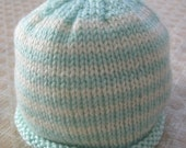 Mint Green & Pale Yellow Striped Beanie Hat