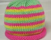 Neon Striped Hat, Pink, Lime Green, Yellow