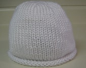 White Knitted Beanie Hat