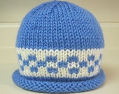 Berry Blue/Cream Checkered Baby Hat
