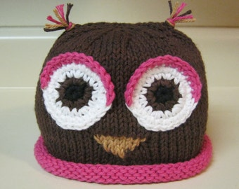 Hand Knitted Owl Hat/Pink