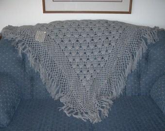 Handmade Crochet Triangular Shawl with Tassles