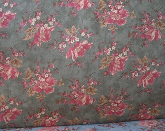 Olive Green Background with Floral Design, 1880 - 1900 Reproduction Quilt Fabric, Calico Craze by Brackman/Thompson for Moda