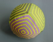 Exercise ball cover geometric stripe design in lime shades