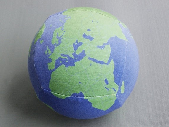 Exercise ball cover map globe design in blue and green