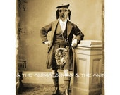 Vintage Dog - Anthropomorphic Scottish portrait Digital altered image Sepia tone recolored Download Printable 4x6 5x7 and A4 size //vp004