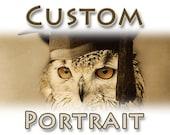 CUSTOM Pet Portrait - Anthropomorphic Digital vintage portrait Sepia color Altered photo Printable Downloadable postcard and A4 size //cv040
