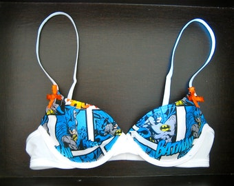 HOLY BOWS, BATMAN Push-Up: White Bra with Batman Comics Fabric and Matching Orange Bows