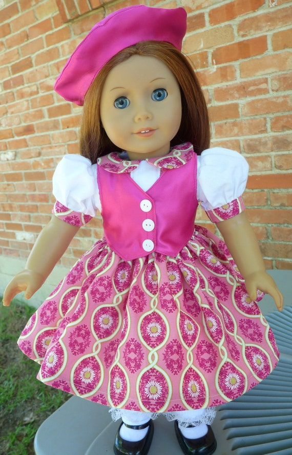 "18"" Doll Clothes 1940s--1950's Style Fantastic Fuchsia Dress With Vest and Beret---Fits American Girl Kit, Molly, Emily, Ruthie"