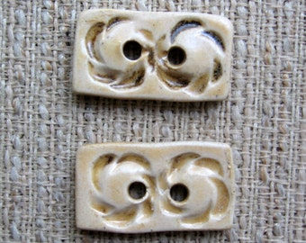 Handmade Ceramic Buttons - Set of 2 Buttons