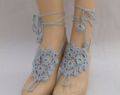 Gray Barefoot Sandals-Hand Crochet Sandals-Beach Jewelry-Ready to Ship