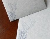 Custom order for Kelly - Blue parchment paper stationery set whimsical design set of 30.