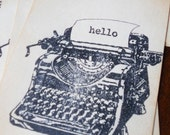 Stationery set vintage typewritter flat note cards, hand stamped Thanks, Miss You, Hello, set of 10.