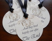 Vintage wedding wish tree tags hand stamped  'and they lived happily ever after', satin ribbon, set of 10