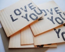 Vintage 'I Love You' stationery set note cards, hand stamped black letters, blank and folded style, matching envelopes set of 5.