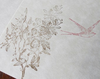 Parchment paper stationery set. Writing paper hand stamped with romantic, old world flowers and pink swallow, set of 30.