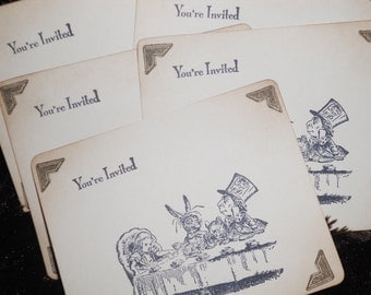 Vintage style Alice in Wonderland Invitations - set of 5 with matching envelopes.