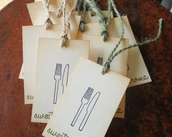 Vintage gift tags, wine bottle or foodie tags, hand baked goods tags hand stamped knife & fork and 'Sweet Aroma', jute twine, set of 10.