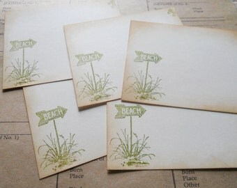 Vintage beach stationery set, hand stamped in green, set of 10 with matching envelopes.