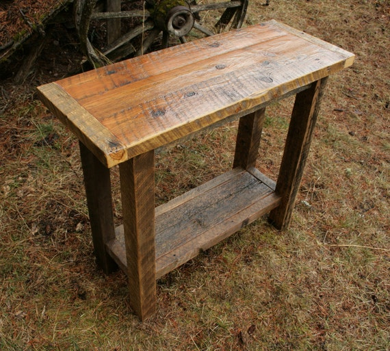 Reclaimed Rustic Barnwood Console Sofa Table By Echopeakdesign