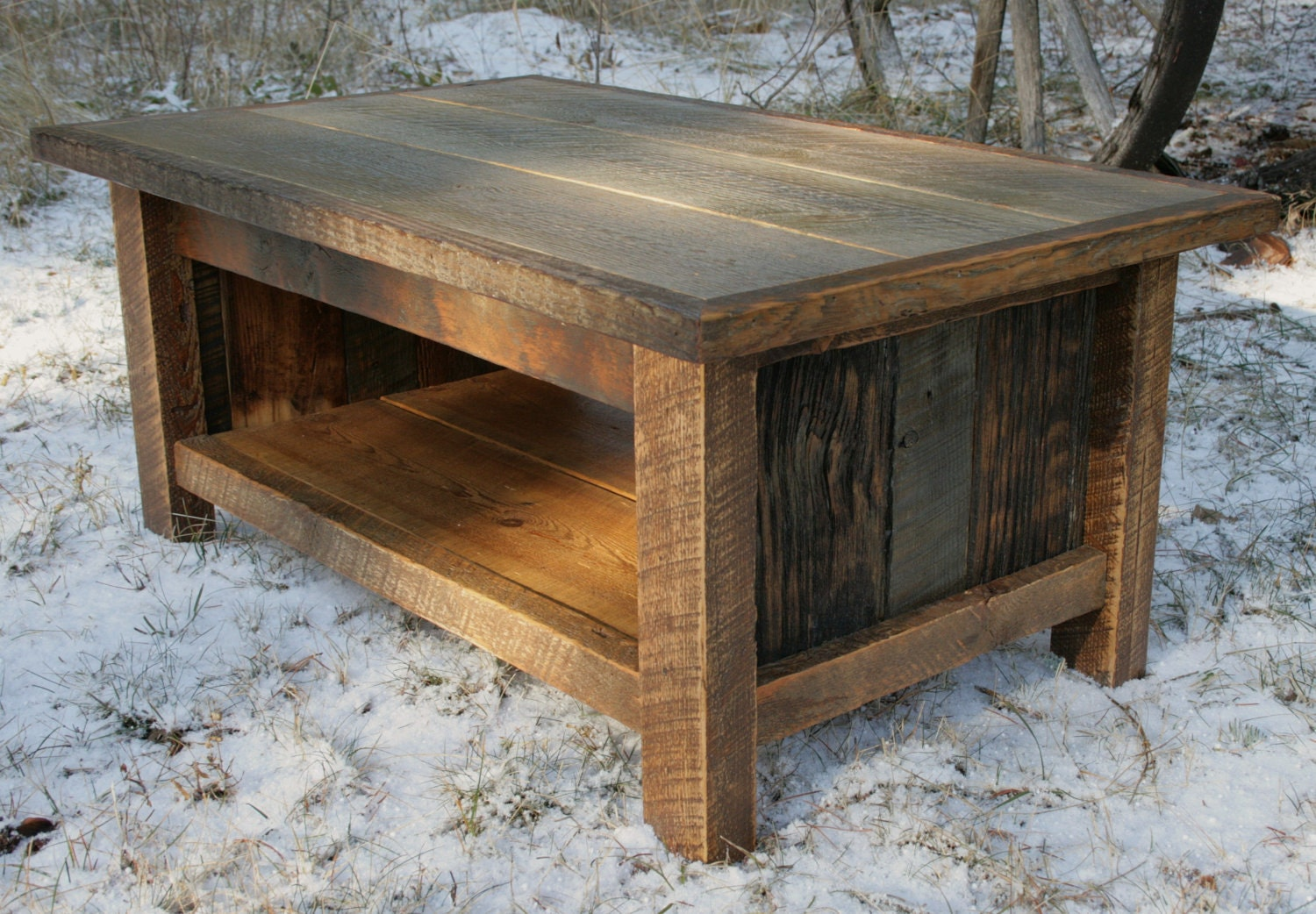 Rustic reclaimed coffee table by echopeakdesign on etsy Rustic wooden coffee tables