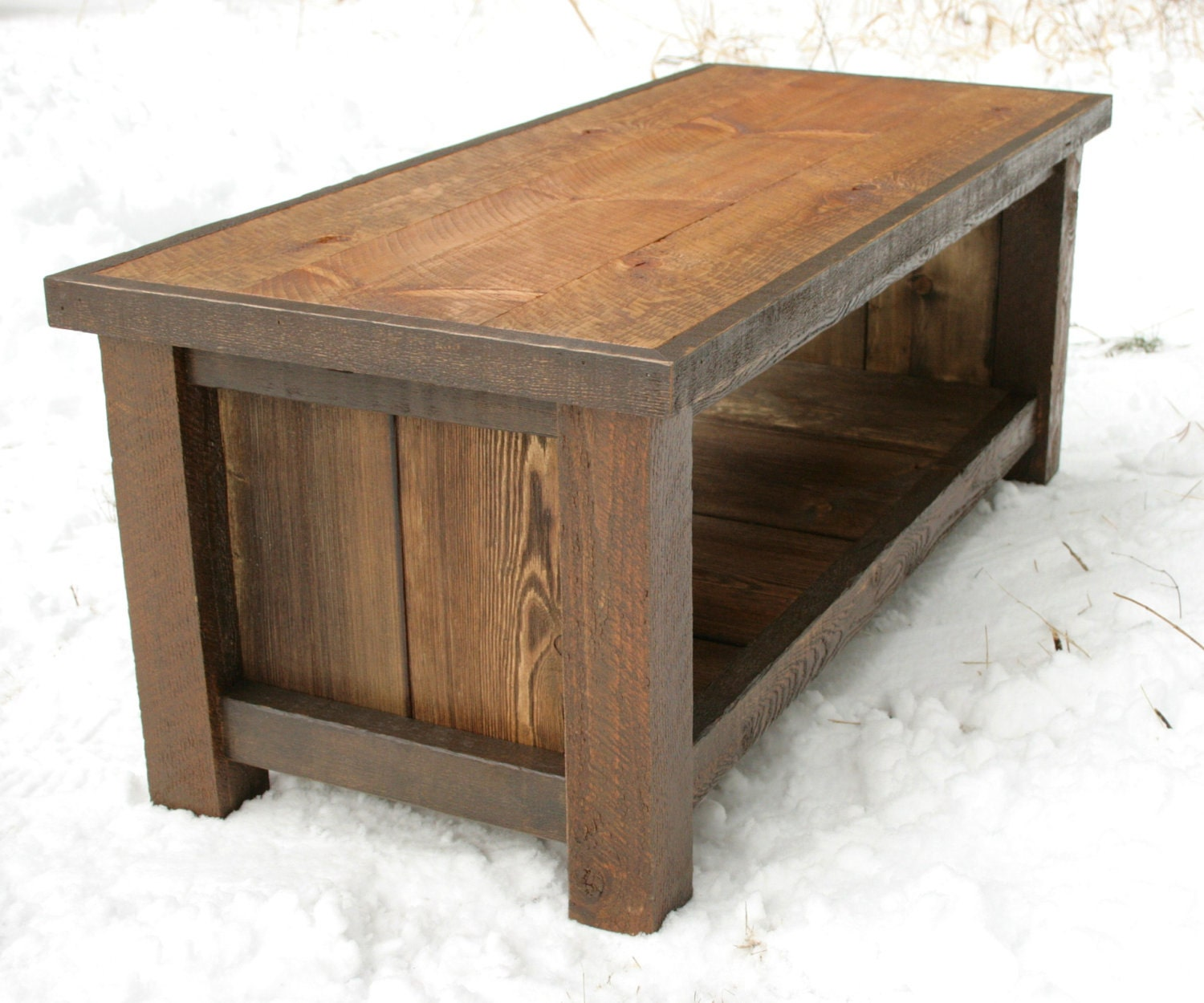 rustic reclaimed bench coffee table by echopeakdesign on etsy
