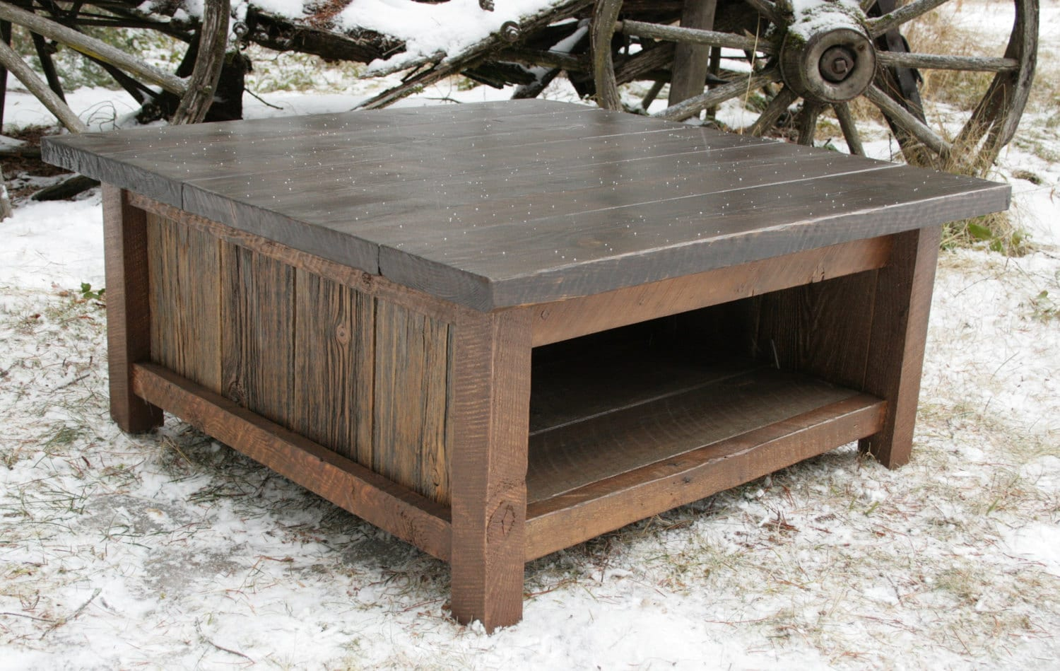 Rustic modern reclaimed coffee table by echopeakdesign on etsy Coffee tables rustic