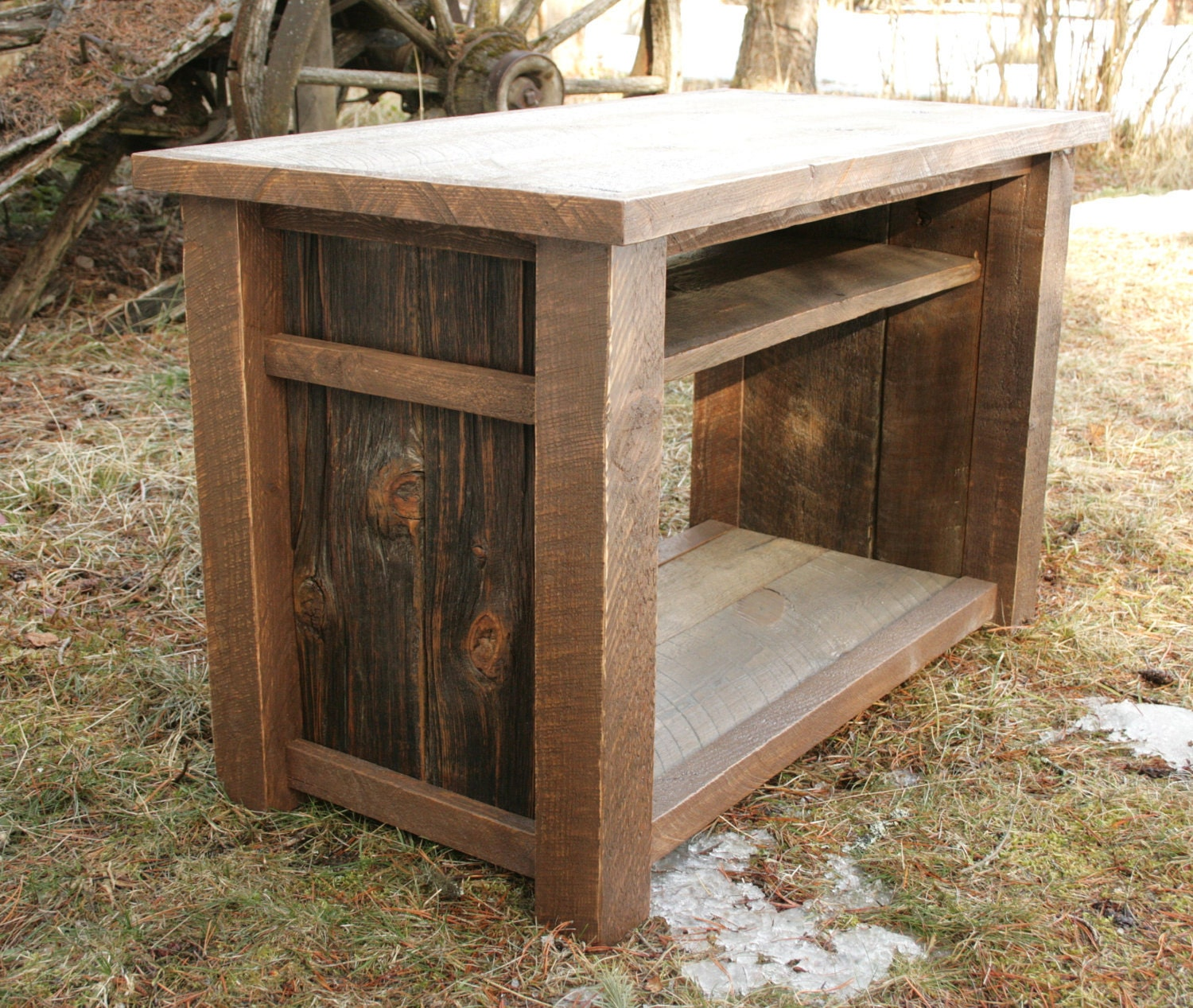 Rustic reclaimed tv media entertainment stand by Rustic tv stands