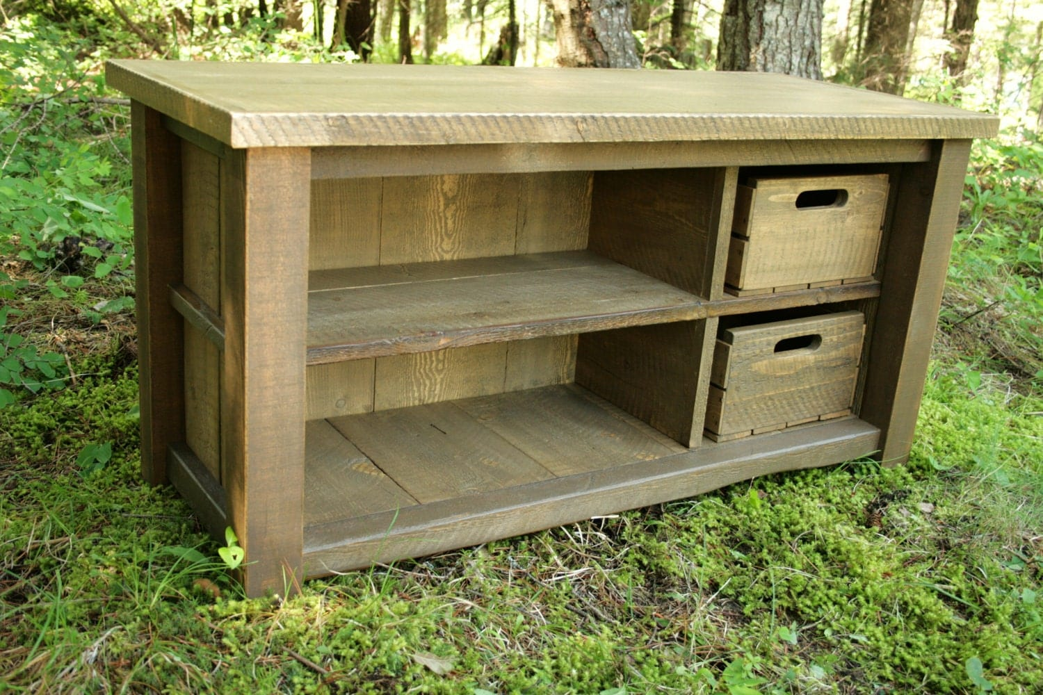 Rustic Reclaimed Bench Entry Cubby By Echopeakdesign On Etsy