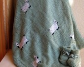 Baby Blanket - Lambs in a Meadow Blanket - Hand-Knit and Lined in Fleece - Child Room Decor
