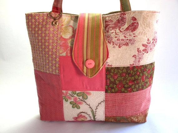 SALE - Large pink patchwork tote bag with recycled fabrics and snap closure