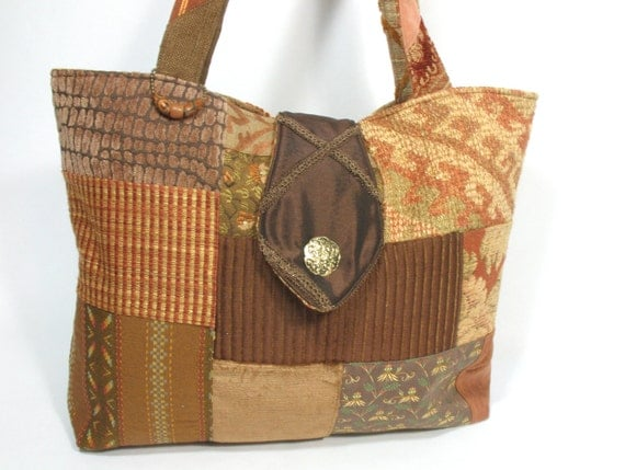SALE - Large brown and rust tote bag, upcycled fabrics